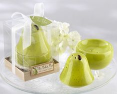 The Perfect Pair Ceramic Salt and Pepper Shakers (Kate Aspen 23022GN) | Buy at Wedding Favors Unlimited (http://www.weddingfavorsunlimited.com/the_perfect_pair_ceramic_salt_and_pepper_shakers.html).
