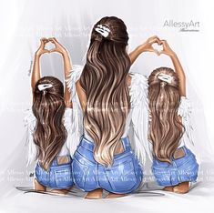Mother And Daughter Drawing, Daughter Love, Mother Daughters, Girl Cartoon, Cartoon Art, Mom Clipart, I Love You Mom, Art Girl, Art Drawings