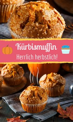 Delicious pumpkin muffins for you! The post Sweet pumpkin muffins with hokkaido appeared first on Dessert Factory. Pumpkin Muffin Recipes, Pumpkin Spice Muffins, Pumpkin Chocolate Chip Muffins, Menu Halloween, Dessert Halloween, Healthy Halloween, Halloween Treats, Healthy Dessert Recipes, Cupcake Recipes