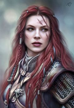 Female warrior / knight with red hair and scars RPG character inspiration