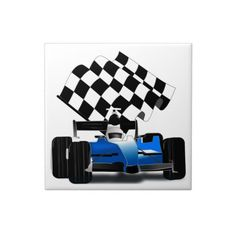 Blue Race Car with Checkered Flag Tiles