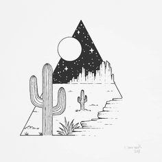 Tattoo sketches 861102391239455123 - I recently worked on a commission with a desert scenery. It was so much fun and it inspired me to draw more of this kind of landscape 🌵🌵🌵… Source by echarpigny Cool Art Drawings, Art Drawings Sketches, Doodle Drawings, Easy Drawings, Doodle Art, Tattoo Drawings, Tattoo Sketches, Desert Drawing, Cactus Drawing