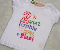 Terrible Two's T Shirt Girls Applique by WeeWoolieKnitz on Etsy, $20.20