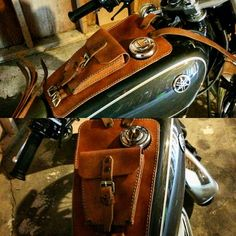 Yamaha sr400 leather tank belt and documents bag Cafe Racer and Scrambler by maxakaido on Etsy https://www.etsy.com/listing/251750202/yamaha-sr400-leather-tank-belt-and