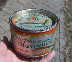 Rare* Golden Pheasant Marshmallows Tin - Pacific Coast Biscuit Co San Francisco #GoldenPheasantMarshmallows