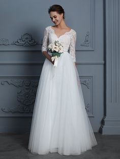 5d16ef5f44cb Cheap A-Line V-neck 3/4 Sleeves Long Lace Tulle Wedding Dresses