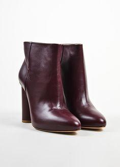 Maiyet Bordeaux Leather Almond Toe Pull On Ankle Booties op luxurygaragesale.com, USD 225 (retail 459) niet op voorraad