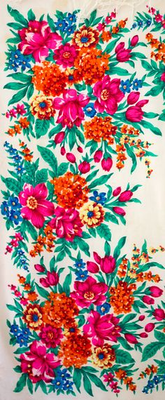 Vintage Russian shawl with colorful tulips, hydrangea and other flowers..