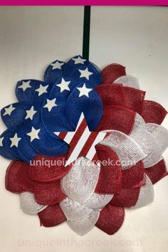Red, white and blue AWESOMENESS! DIY patriotic wreaths have never been easier than with Unique in the Creek wreath boards! We love seeing the patriotic works of art you're creating for Memorial Day and the Fourth of July on our boards! This patriotic flower wreath made by Nat Ridgey on the Small Board is just stunning, don'tchathink? Start Memorial Day decorating with UITC™ boards, materials, and more! #diypatriotic #fourthofjuly Paper Wall Decor, Diy Wall Decor For Bedroom, Diy Wall Art, July Crafts, Kids Crafts, Diy Fall Wreath, 4th Of July Decorations, Patriotic Wreath, Summer Diy