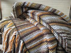 Fall and Winter Striped brown and White by WeavingbyChaco on Etsy, $125.00