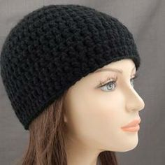 Solid Black Double Strand Beanie