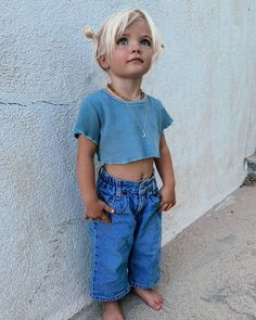 Obsessed with Hazels denim look 💙 vintage Levi's heaven by paired with the ultimate crop made on Kauai Cute Little Baby, Cute Baby Girl, Cute Babies, Baby Kids, Little Girl Outfits, Kids Outfits, Future Mom, Cute Baby Pictures, Western Baby Pictures