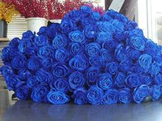Bunches of English Roses | Huge bunch of blue roses.