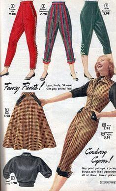 Aldens 1953 vintage fashion catalogue capri pants outfit suit skirt sweater knit red green tan black stripe velvet 50s era rockabilly style