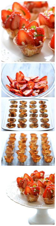 Strawberry Wonton Cups - These elegant wonton cups come together so quickly and easily, and you can even make them ahead of time. Perfect for Valentine's Day!