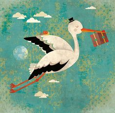 STORK  art print // children illustration // happy by schalleszter