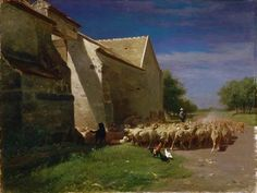 Charles-Émile Jacque (1813-1894) - Sheep Leaving a Farmyard (1860)