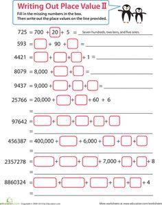 Second grade math worksheets are a great help to second graders. Learn math skills with second grade math worksheets Grade 6 Math Worksheets, Place Value Worksheets, Math Place Value, Place Values, Second Grade Math, Math Practices, Math Notebooks, Interactive Notebooks, Homeschool Math