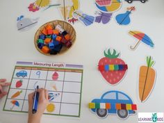 Meauring Length Printable Mats and Pictures. Measure and record.