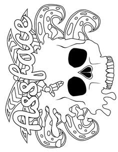 Skull - Adult Coloring page - swear. 14 FREE printable coloring pages, Visit swearstressaway.com to download and print 14 swear word coloring pages. These adult coloring pages with colorful language are perfect for getting rid of stress. The free printable coloring pages that are given change, so the pin may differ from the coloring pages give at swearstressaway.com - Color & Swear #coloring #skull