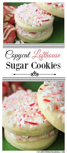 These easy lofthouse-style sugar cookies are big and soft and covered with crushed peppermints. Perfect for Christmas or Valentine's Day!