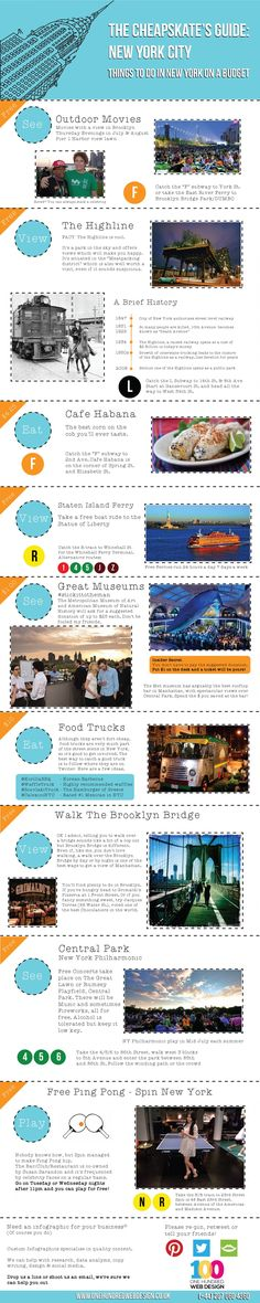 New York travel infographic. After staying in New York for 3 months I decided to compile a list of the best things to do in new york for free or for next to nothing!