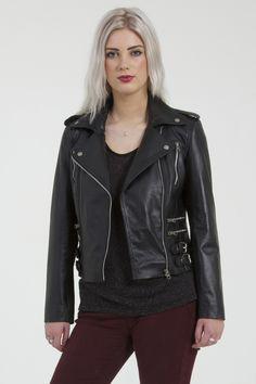 1 Womens Black Leather Biker Jacket Trento