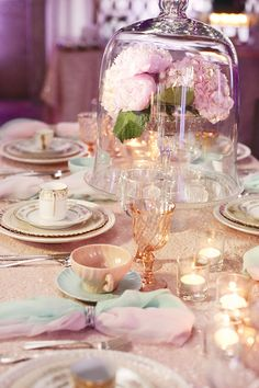 A DREAMY Bridal event filled with vintage glam wedding inspiration – fabulous retro furniture, romantic florals, sparkly linens, & more! Vintage Glam, Vintage Table, Wedding Jars, Wedding Table, Wedding Blush, Sparkle Wedding, Wedding Dinner, Dream Wedding, Shabby Chic Interiors