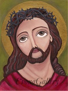 Jesus Christ with the crown of thorns  Art by Evonagallery on Etsy, $15.00