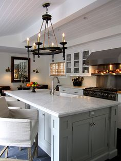Color Palette - Kitchen island - Benjamin Moore Fieldstone. Love huge kitchen islands, color, and chandelier