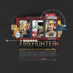 love this little fireman scrapbook page from Kayleigh at DesignerDigitals.com