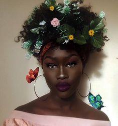 Makeup for Dark Skin Women of Color | Dark Purple Lip Color | Floral Hair Art | Melanin Poppin Makeup #makeup #melanin #darklip Pin: @amerishabeauty