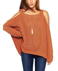 Off-Shoulder Long Sleeve Knit Sweater - White/Brown/Coffee/Orange