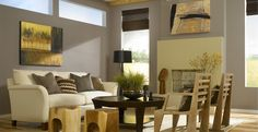 Living Room - Rooms & Spaces - Inspirations | Behr Paint. Creek Bend, Cozy Cottage and Frost.