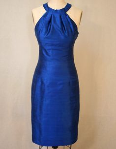 Sapphire Blue Grecian Halter Shantung Dress by kimeradesign, $218.00