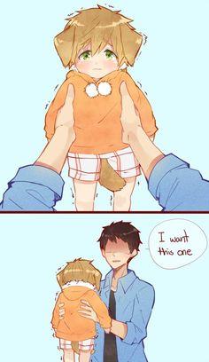 Sousuke and puppy Makoto | Free!
