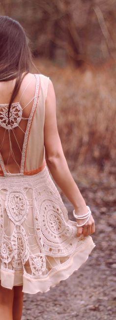 ╰☆╮Boho chic bohemian boho style hippy hippie chic bohème vibe gypsy fashion indie folk the 70s . ╰☆╮ Dandelion Crochet Dress www.nb-couture.de