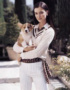 preppy girl, corgi dog