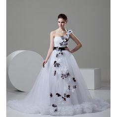 Custom Made Vestido De Novia 2017 White&Coffee Tulle Flowers Black Sash Beading One Shoulder Wedding Dress Vestido De Casamento