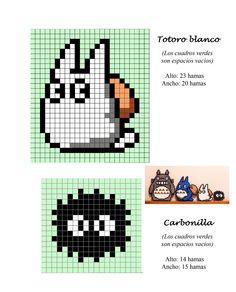 Totoro blanco carbonilla sprites - Hama beads pattern