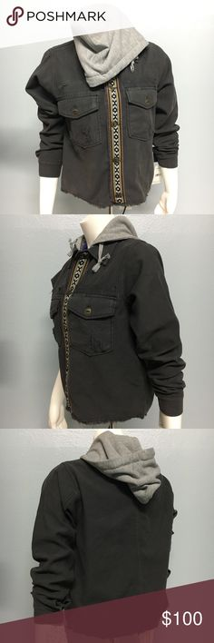 Free People Distressed Jacket Woven Design Size XS Free People Distressed Jacket Woven Design Size XS Free People Jackets & Coats