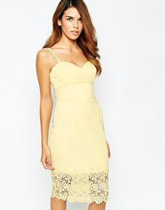 Michelle Keegan Loves Lipsy Lace Detail Cami Pencil Dress