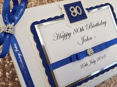 Personalised 80th Birthday guest book in a blue & silver theme.