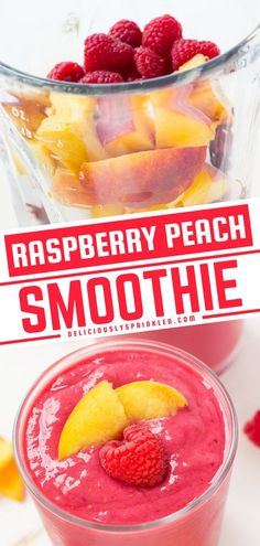 You can't go wrong with this easy drink recipe! Packed full of raspberries, peaches, greek yogurt, and almond milk, this homemade smoothie is delicious. Whether you enjoy it for breakfast, lunch, dinner, or just because, you'll fall in love with this fun and tasty treat! Easy Drink Recipes, Fruit Recipes, Lunch Recipes, Summer Recipes, Homemade Smoothies, Yummy Smoothies, Alcoholic Beverages, Drinks, Canned Peaches