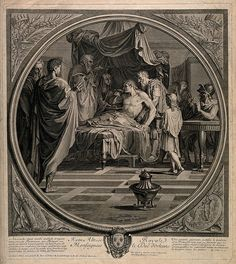 Alexander the Great demonstrates his trust in his physician Philip by drinking a medicinal draught prepared by him even after receiving a letter alleging that Philip is trying to poison him. Line engraving by B. Audran, the elder, after E. Le Sueur. Iconographic Collections Keywords: Philip of Acarnania; Benoit Audran; Eustache Le Sueur; Alexander the Great