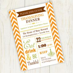 Eat drink and be thankful thanksgiving invitation printable dinner