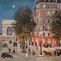 "Paris au mois d'aôut. Acrylic on board. 15¾"" x 15¾"""