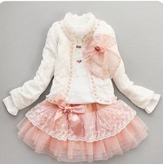Retail baby girl sets three piece dress(top+t shirt+dress) child clothes set,infant tee shirt+coat+dress set LJ024-in Clothing Sets from Apparel & Accessories on Aliexpress.com