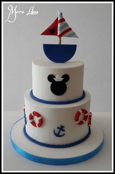 Nautical Mickey - Cake by Maira Liboa - CakesDecor Nautical Birthday Cakes, Mickey Mouse Birthday Theme, Sailor Birthday, Mickey Mouse Baby Shower, Mickey Cakes, Mickey Mouse Cake, Mickey Y Minnie, Mickey Party, Nautical Mickey