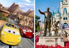 Image: Illustration of Cars Land, Disney California Adventure, Anaheim, Calif. & statue of Walt Disney & Mickey Mouse, Magic Kingdom, Walt Disney World, Fla. (© Disneyland Resort; Ron Buskirk/Alamy)